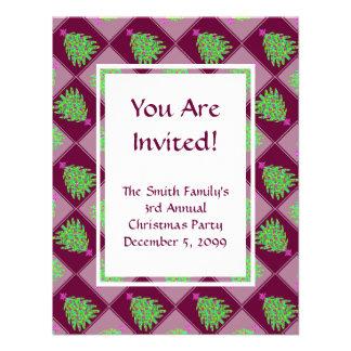 Green Christmas Tree Colorful Holiday Pattern Custom Invites