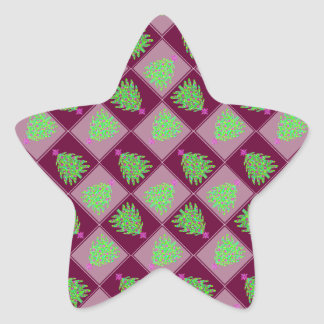 Green Christmas Tree Colorful Holiday Pattern Stickers