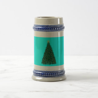 Green Christmas Tree, Gold Running Horses, Aqua Mug