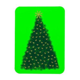 Green Christmas Tree, Gold Running Horses, Lime Rectangular Photo Magnet