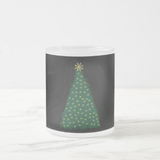 Green Christmas Tree, Gold Running Horses on Black Mugs