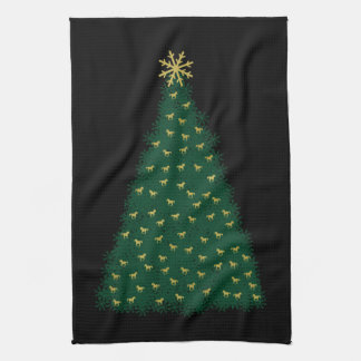Green Christmas Tree, Gold Running Horses on Black Tea Towel