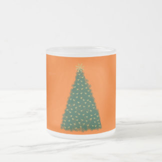 Green Christmas Tree, Gold Running Horses, Orange Mug