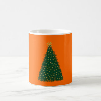 Green Christmas Tree, Gold Running Horses, Orange Coffee Mug