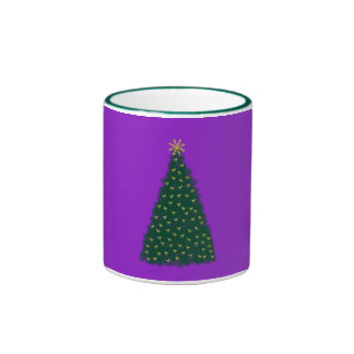 Green Christmas Tree, Gold Running Horses, Purple Coffee Mug