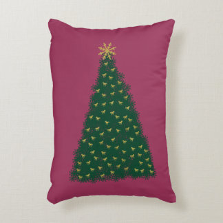 Green Christmas Tree, Gold Running Horses, Sangria Accent Cushion