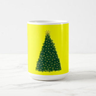 Green Christmas Tree, Gold Running Horses, Yellow Coffee Mugs