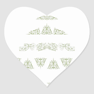 Green Christmas Tree Heart Sticker