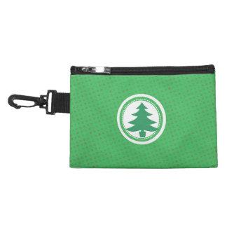 Green Christmas Tree Polkadots Accessory Bag