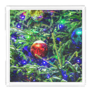Green Christmas Tree Red Ball Acrylic Tray