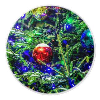 Green Christmas Tree Red Ball Ceramic Knob