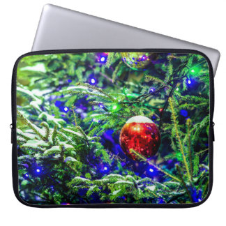 Green Christmas Tree Red Ball Laptop Sleeve