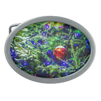 Green Christmas Tree Red Ball Oval Belt Buckles