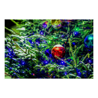 Green Christmas Tree Red Ball Poster