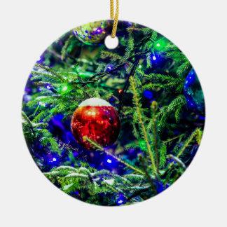 Green Christmas Tree Red Ball Round Ceramic Decoration