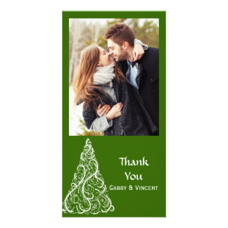 Green Christmas Tree Thank You Personalized Photo Card