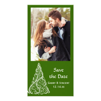 Green Christmas Tree Winter Wedding Save the Date Picture Card