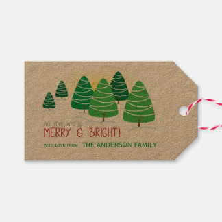 Green Christmas Trees, Merry & Bright, Personalize