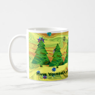 green christmas trees mug