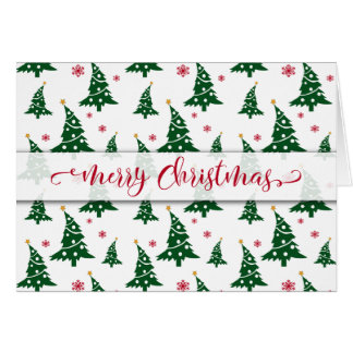 Green Christmas Trees & Red Snowflakes Pattern Card