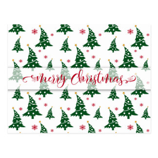 Green Christmas Trees & Red Snowflakes Pattern Postcard