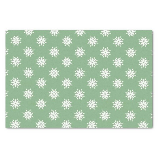 Green Christmas white snowflakes Tissue Paper