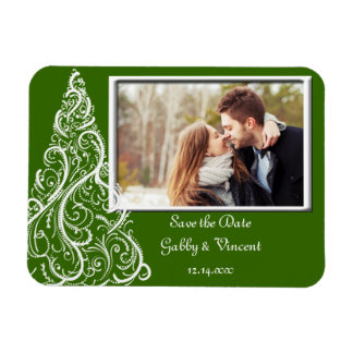 Green Christmas Winter Wedding Save the Date Photo Rectangular Photo Magnet