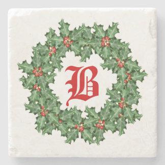 Green Christmas Wreath Monogram Stone Coaster