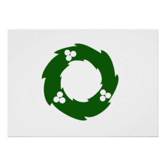 Green Christmas Wreath Poster