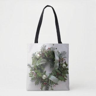 Green Christmas wreath Tote Bag