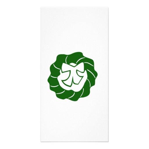 Green Christmas Wreath with Bow Photo Card