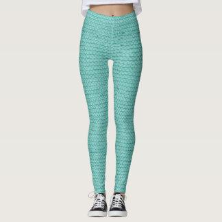 Green chunky knit leggings