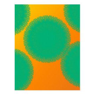 green circle in yellowish orange postcards