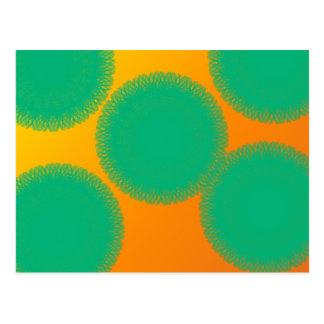 green circle in yellowish orange post card