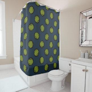 Green Circles / Dots Navy Blue  Shower Curtain