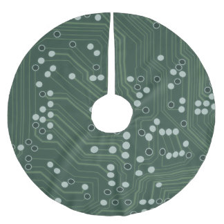 Green Circuit Board Background Pattern Art Brushed Polyester Tree Skirt