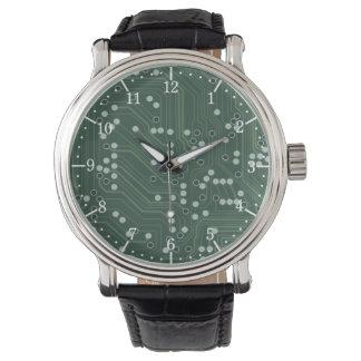 Green Circuit Board Background Pattern Art Watch