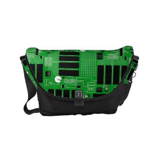 Green circuit board commuter bag