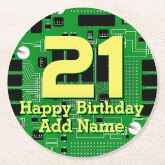 Green circuit board round paper coaster