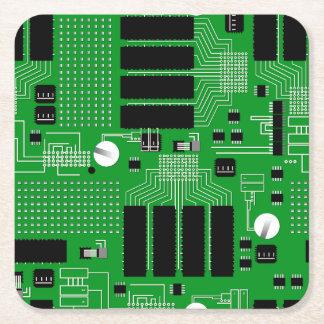 Green circuit board square paper coaster