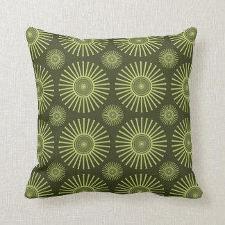 Green circular flowers cushion