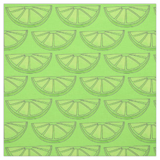 Green Citrus Fruit Lime Slices Fabric