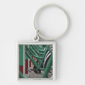 Green city transport Silver-Colored square key ring