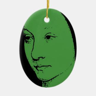 Green Classic Art Face Christmas Ornaments