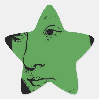 Green Classic Art Face Star Sticker