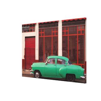 Green Classic Car, Cuba Canvas Print