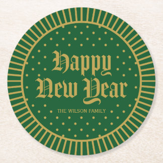 Green Classic Decorative Geometric Happy New Year Round Paper Coaster