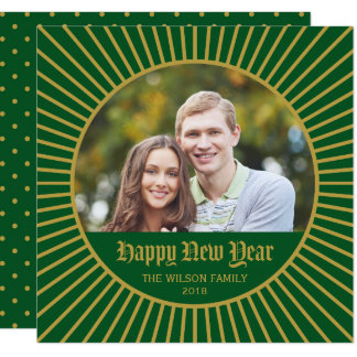 Green Classic Decorative Happy New Year Photo Card