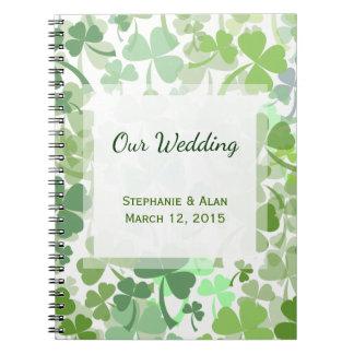 Green Clover All Over Wedding Notebook