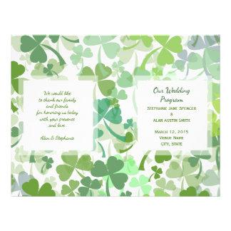 Green Clover All Over Wedding Program Flyers